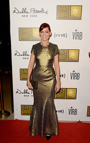 Carrie Preston chose a tapestry-print golden gown for the Critics' Choice Television Awards.