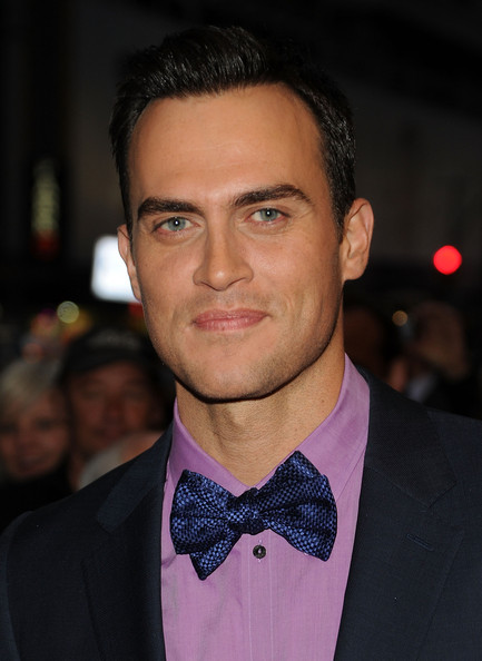 Cheyenne Jackson's shimmery blue bow tie and lavender shirt were a delightful pairing.