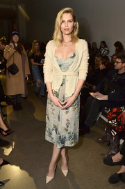 Sara Foster kept it ladylike in a floral midi dress at the Brock Collection fashion show.