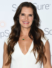 Brooke Shields wore her long hair down in a gorgeous wavy style at the SculpSure Body Contouring event.