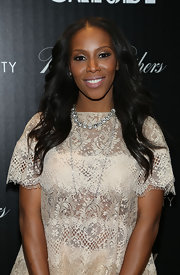 Celebrity stylist June Ambrose layered a couple of sterling necklaces to style her 'Great Gatsby' NYC screening outfit.
