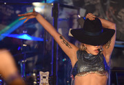 A black fedora topped off Lady Gaga's look.