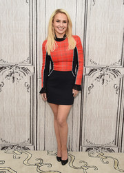 Hayden Panettiere was sporty-chic in this red and black mini dress while attending Build Presents 'Nashville.'