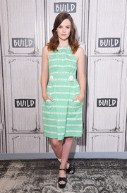 Sarah Ramos appeared on the Build Series wearing a summery green print dress.