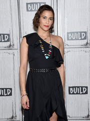 Paula Patton accessorized with a studded belt for a bit of edge to her flirty LBD while visiting Build.