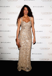 Afef Jnifen looked lovely in this nude-colored column dress that featured silver beaded embellishments.