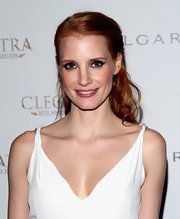 A pretty bubblegum pink lipstick helped show off Jessica Chastain's blushy cheeks.