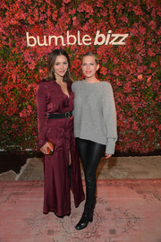 Katharine McPhee looked effortlessly stylish in a burgundy maxi shirtdress at the Bumble Bizz Los Angeles launch.