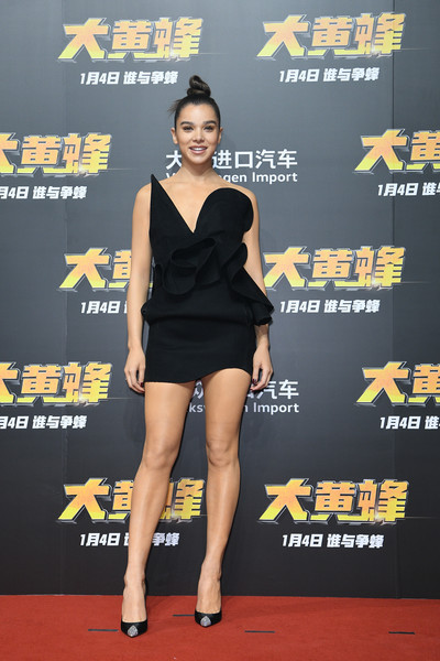 Hailee Steinfeld looked artsy in a origami-inspired strapless LBD by Saint Laurent at the Beijing screening of 'Bumblebee.'