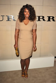 Serena Williams looked chic in a nude cocktail dress with a simple silhouette.