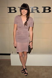 Emma Greenwell donned a dusty rose ruched cocktail dress for the Burberry Body Launch.