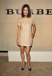 Julia Jones wore an ultra-short laser-cut dress for the Burberry Body launch.