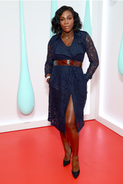 Serena Williams kept it classy in a blue lace trenchcoat dress by Burberry at the launch of the brand's DK88 bag.