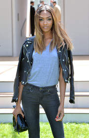 Red nail polish infused some femininity into Jourdan Dunn's mannish look during the Burberry Prorsum fashion show.