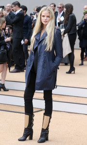 Gabriella Wilde broke out the trenchcoat for the Burberry Prorsum fashion show.