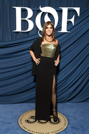 Carine Roitfeld donned a strapless column dress with a sequined bodice for the 2019 #BoF500 Gala.
