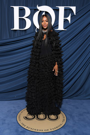 Naomi Campbell made a head-turning entrance in a ruffled black cape layered over a matching gown at the 2019 #BoF500 Gala.