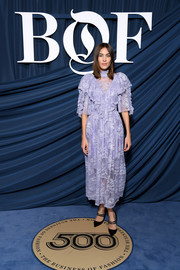 Alexa Chung went the ultra-feminine route in a lavender lace dress by Preen at the 2019 #BoF500 Gala.