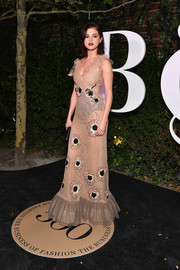 Selena Gomez looked alluring in a sheer nude lace gown by Rodarte at the #BoF500 gala.