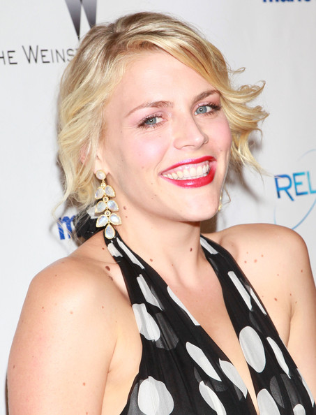 Busy Philipps Dangling Gemstone Earrings [hair,face,blond,hairstyle,lip,eyebrow,chin,beauty,shoulder,long hair,busy philipps,hotel,beverly hills,california,the beverly hilton,weinstein company,relativity media,party,golden globe awards]