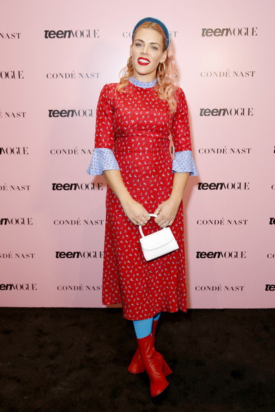 Busy Philipps Leather Purse [clothing,red,beauty,dress,pattern,polka dot,hairstyle,fashion,design,cocktail dress,arrivals,busy philipps,los angeles,california,goya studios,teen vogue summit]
