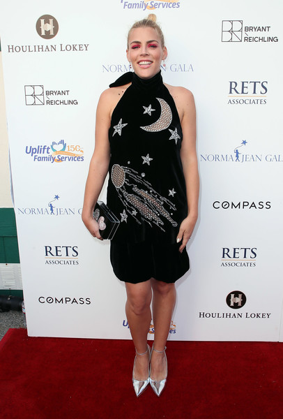 Busy Philipps Evening Pumps [clothing,cocktail dress,dress,red carpet,carpet,little black dress,fashion,shoulder,fashion model,footwear,uplift family services,hollygrove,hollywood,california,hollygrove campus,busy philipps,norma jean gala,arrivals]