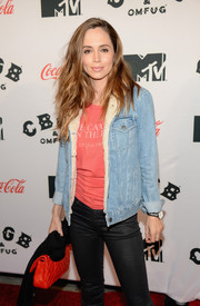 Eliza Dushku sported a casual denim jacket and skinny jeans combo at the premiere of 'CBGB' in New York.