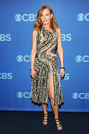 Marg Helgenberger chose a big and bold print at the CBS Upfront event where she wore this printed frock, which featured blue swirl detailing.