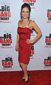 Danica McKellar wore a red strapless dress with balck peep-toe pumps for the 'Big Bang Theory' celebration.