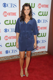 Cote de Pablo looked summery at the TCA Party in a soft blue silk dress and wavy locks.