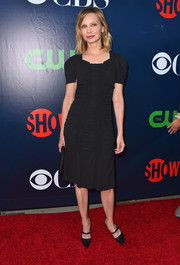 Calista Flockhart kept it simple in a ruched LBD during the CBS Summer TCA Party.