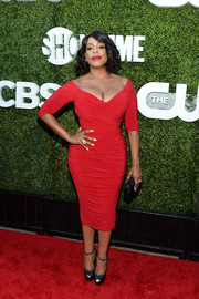 Niecy Nash wowed in a curve-hugging red off-the-shoulder dress at the CBS Summer TCA Party.
