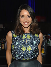 Aubrey Plaza oozed femininity in a sleeveless floral blouse with a keyhole neckline during the 'To-Do List' screening.