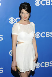 Cobie Smulders rocked a pretty white cutout frock at the CBS Upfront event.