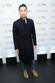 Phillip Lim chose a sleek and straight wool coat for a more stream line look at the CDFA Awards Nominations.