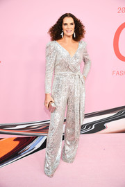 Brooke Shields shimmered in a silver wrap jumpsuit by Sachin & Babi at the 2019 CFDA Fashion Awards.