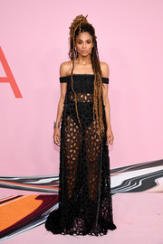 Ciara flashed plenty of skin in a sheer black off-the-shoulder gown by Vera Wang at the 2019 CFDA Fashion Awards.