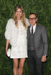 Constance Jablonski glammed it up in a white fur jacket by J. Mendel during the Fashion Fund finalists celebration.