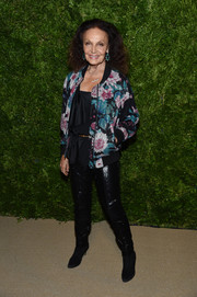 Diane von Furstenberg was casual-glam in a floral sequined jacket from her label at the 2019 CFDA/Vogue Fashion Fund Awards.