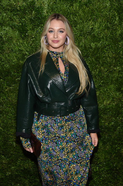 More Pics of Iskra Lawrence Leather Jacket (1 of 2) - Iskra Lawrence Lookbook - StyleBistro [clothing,lady,fashion,leather,dress,blond,jacket,outerwear,long hair,textile,iskra lawrence,vogue fashion fund 2019 awards,new york city,cipriani south street,cfda]