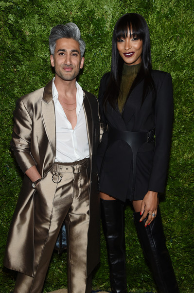 More Pics of Jourdan Dunn Over the Knee Boots (5 of 6) - Boots Lookbook - StyleBistro [fashion,suit,outerwear,formal wear,tree,fashion design,black hair,jourdan dunn,vogue fashion fund 2019 awards,new york city,cipriani south street,cfda,tan france]