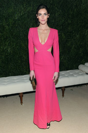 Hilary Rhoda cut a shapely silhouette in a cleavage-baring hot-pink cutout gown by Rachel Roy at the CFDA and Vogue Fund reception.