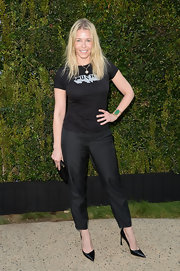 Chelsea Handler showed off her edgier side with this black tee that read 'Punk' on it.