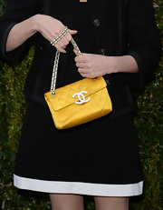 Haley Bennett's sunny yellow quilted bag brightened up her whole look.