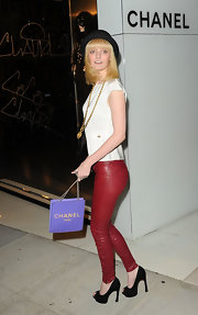 Lydia Hearst topped off her rocker-chic red leather skinny pants with black peep-toe pumps.