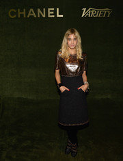Sofia Boutella attended the Inaugural Female Filmmaker Dinner wearing a midi dress with a metallic bodice and a tweed skirt.