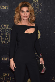Shania Twain accessorized with a silver clutch for some shine to her black outfit at the CMT Artists of the Year event.
