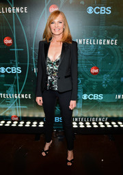 Marg Helgenberger made menswear look so sexy when she wore this black pantsuit to the 'Intelligence' premiere party.