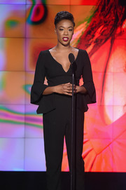 Samira Wiley was modern and stylish in a black peplum jumpsuit at the 2017 CNN Heroes show.