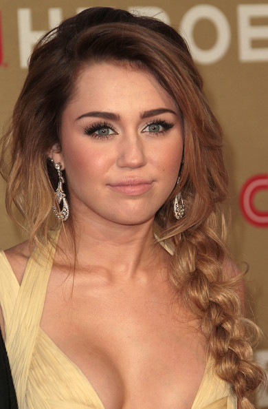 More Pics of Miley Cyrus Long Braided Hairstyle (1 of 8) - Miley Cyrus Lookbook - StyleBistro